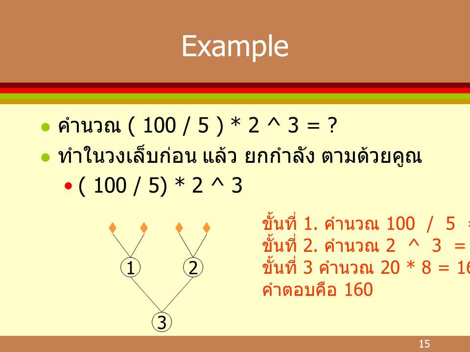 Example คำนวณ ( 100 / 5 ) * 2 ^ 3 = ทำในวงเล็บก่อน แล้ว ยกกำลัง ตามด้วยคูณ. ( 100 / 5) * 2 ^ 3.