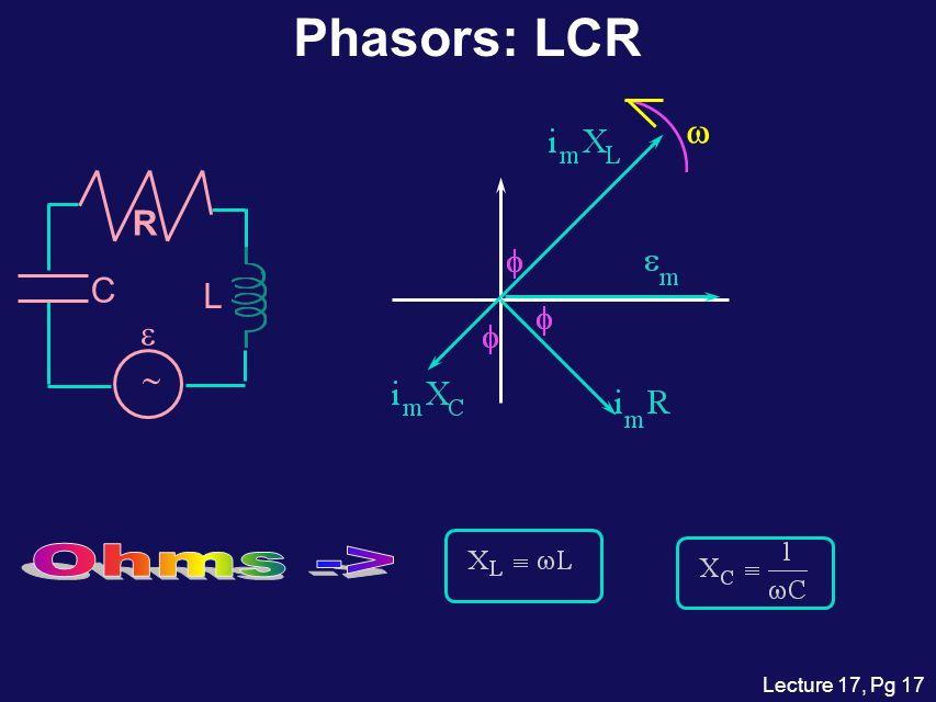 Phasors: LCR w L C ~ e R Ohms ->