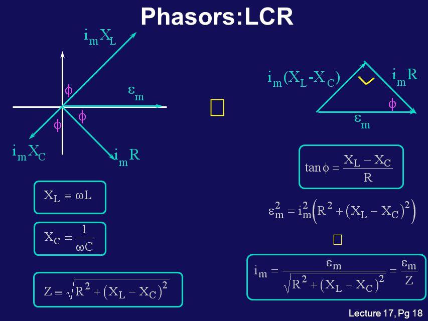 Phasors:LCR Þ ß