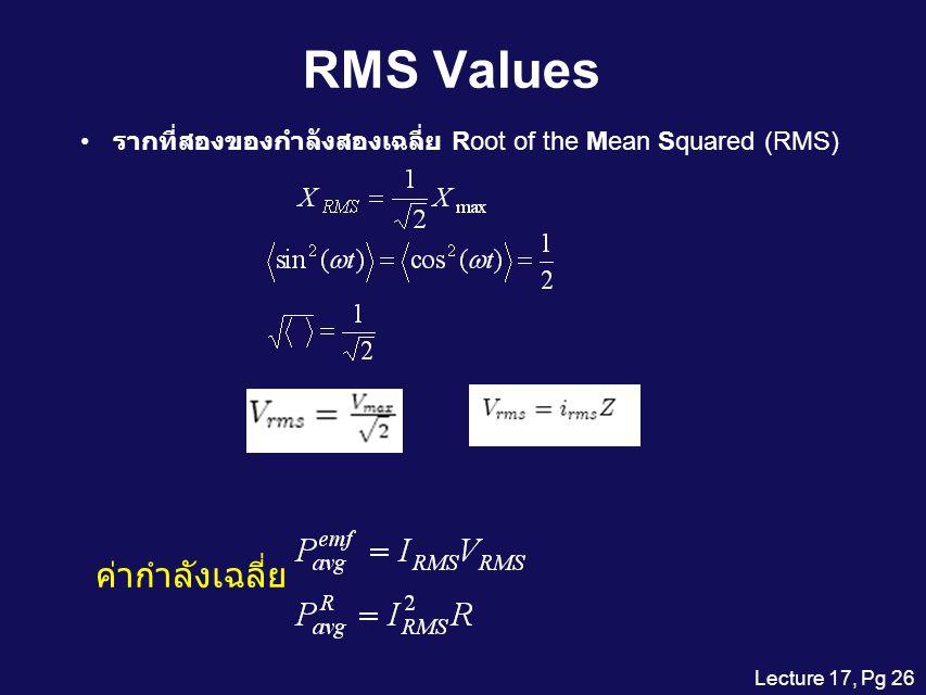 RMS Values ค่ากำลังเฉลี่ย
