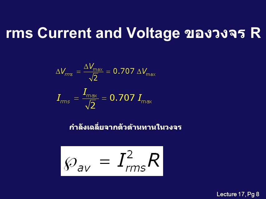 rms Current and Voltage ของวงจร R