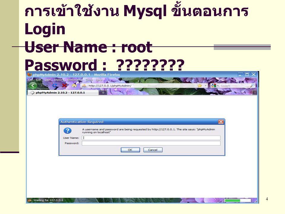 การเข้าใช้งาน Mysql ขั้นตอนการ Login User Name : root Password :