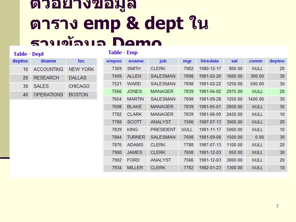 ตัวอย่างข้อมูล ตาราง emp & dept ในฐานข้อมูล Demo