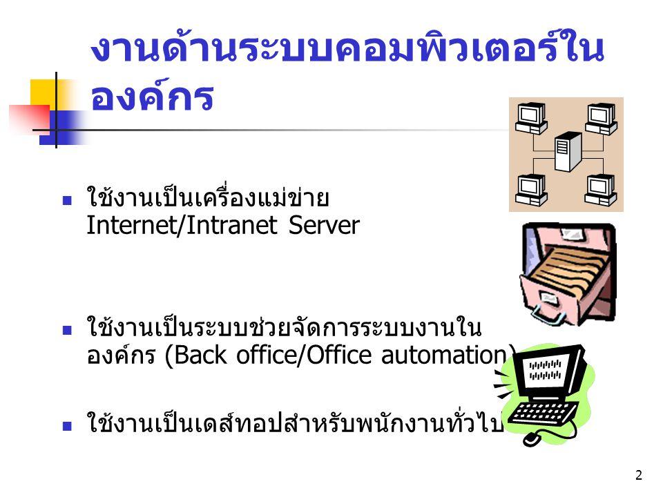งานด้านระบบคอมพิวเตอร์ในองค์กร