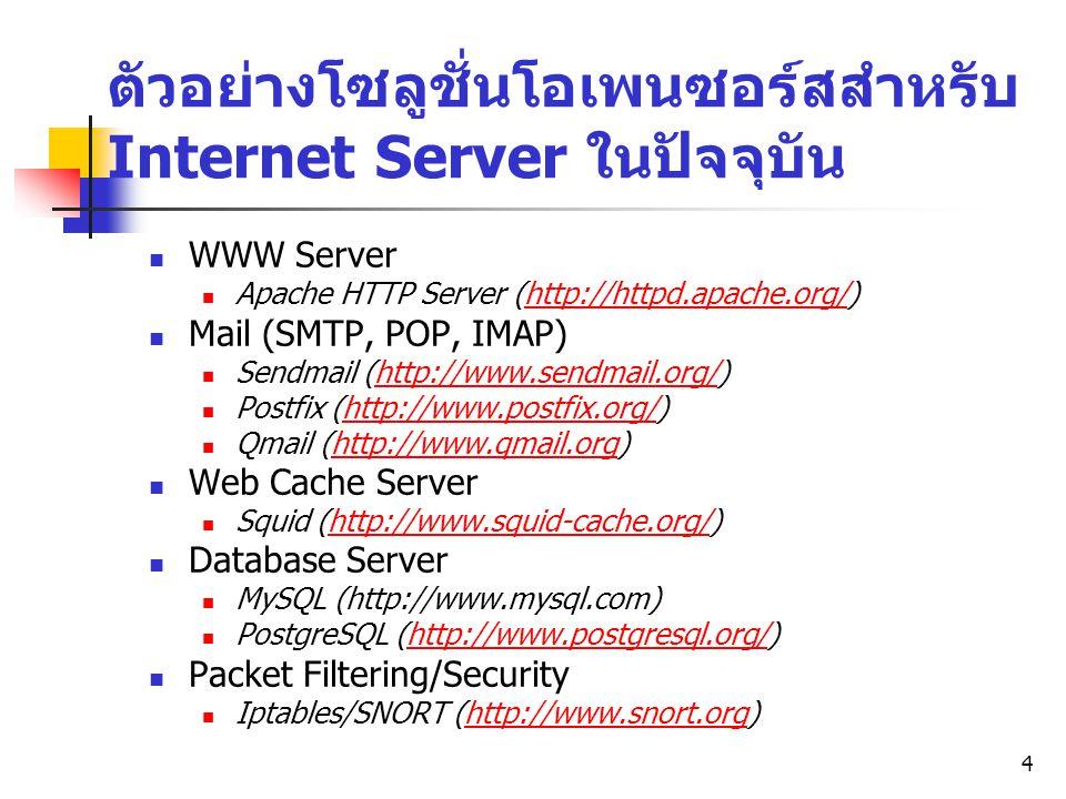 ตัวอย่างโซลูชั่นโอเพนซอร์สสำหรับ Internet Server ในปัจจุบัน