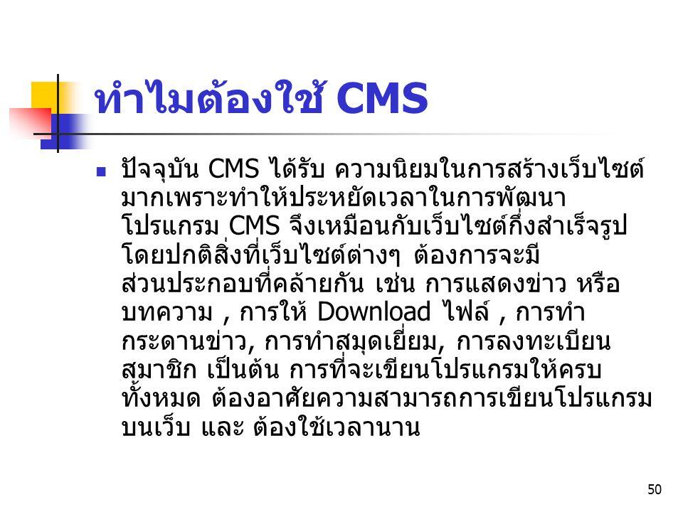ทำไมต้องใช้ CMS