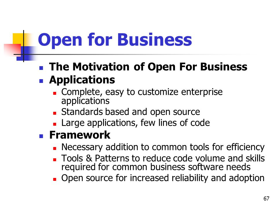 Open for Business The Motivation of Open For Business Applications