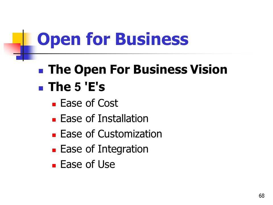 Open for Business The Open For Business Vision The 5 E s Ease of Cost