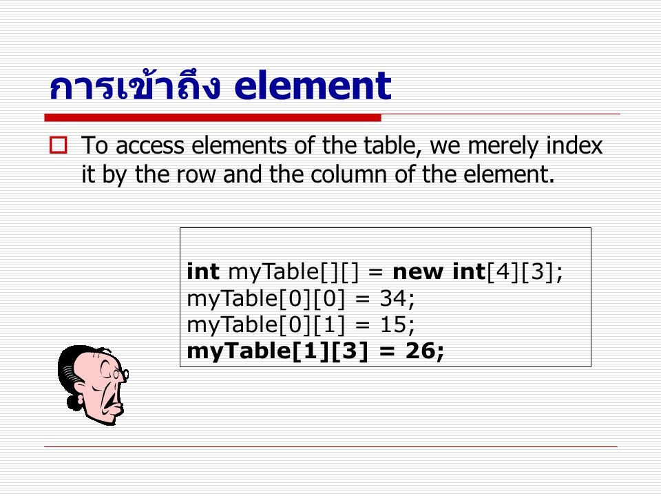 การเข้าถึง element To access elements of the table, we merely index it by the row and the column of the element.