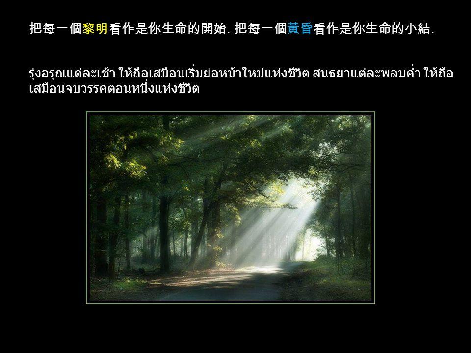 把每一個黎明看作是你生命的開始. 把每一個黃昏看作是你生命的小結.