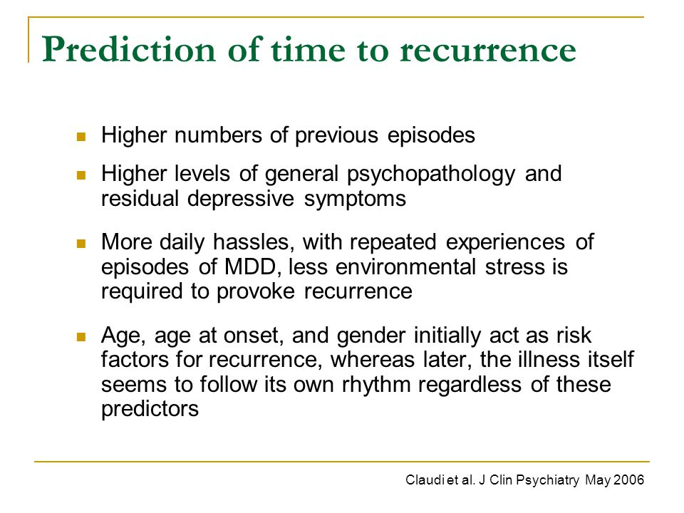 Prediction of time to recurrence