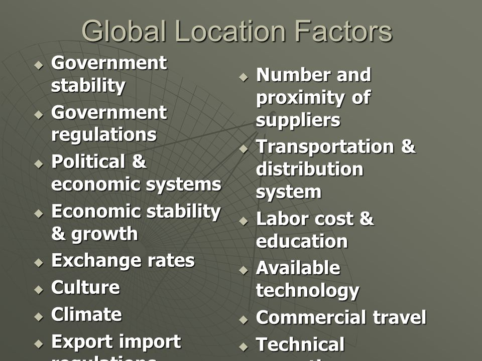 Global Location Factors