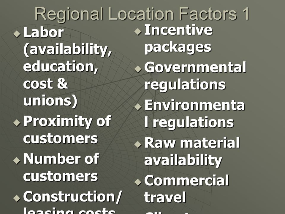 Regional Location Factors 1