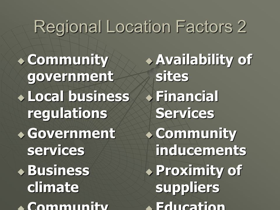 Regional Location Factors 2
