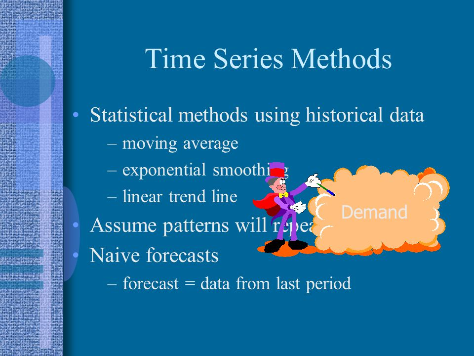 Time Series Methods Statistical methods using historical data