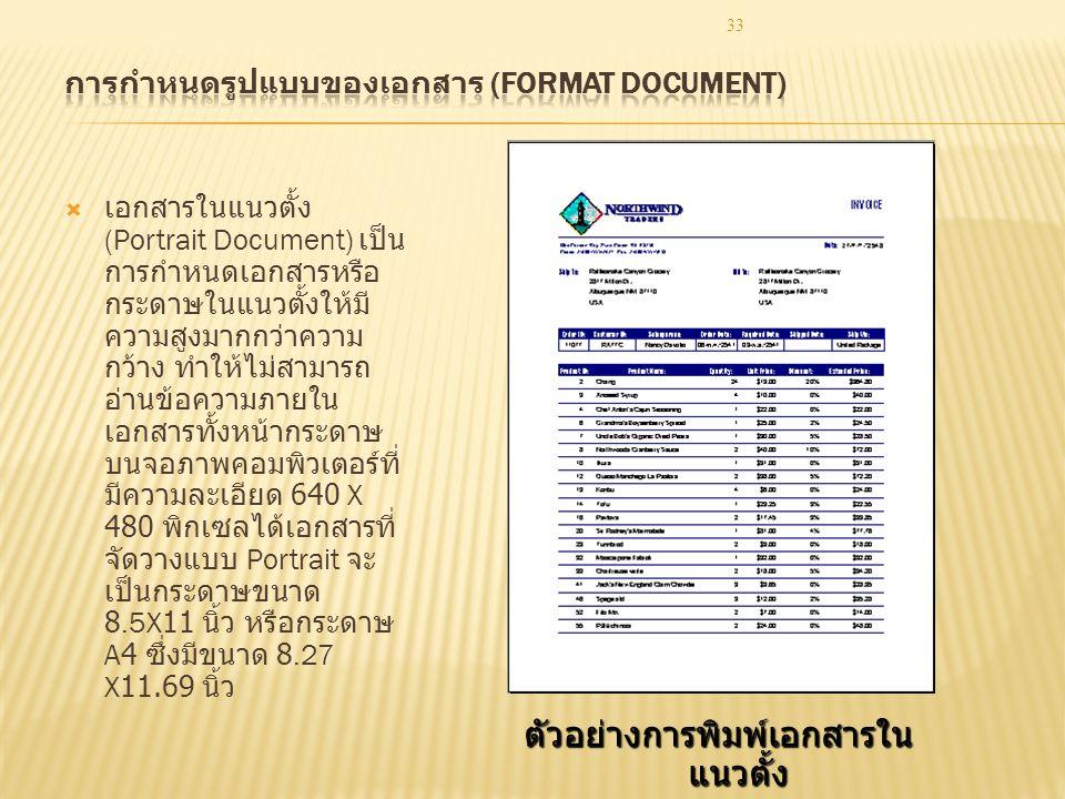 การกำหนดรูปแบบของเอกสาร (Format Document)