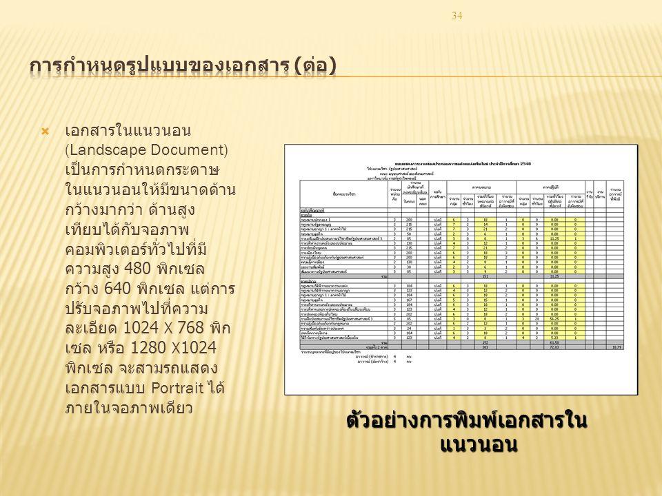 การกำหนดรูปแบบของเอกสาร (ต่อ)