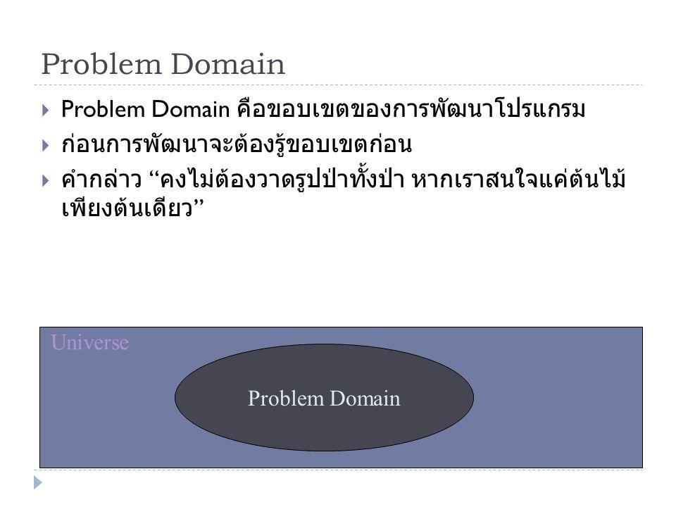Problem Domain Problem Domain คือขอบเขตของการพัฒนาโปรแกรม