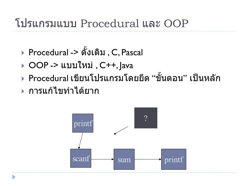 โปรแกรมแบบ Procedural และ OOP