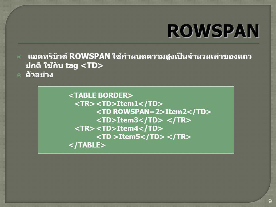 ROWSPAN แอตทริบิวต์ ROWSPAN ใช้กำหนดความสูงเป็นจำนวนเท่าของแถวปกติ ใช้กับ tag <TD> ตัวอย่าง. <TABLE BORDER>