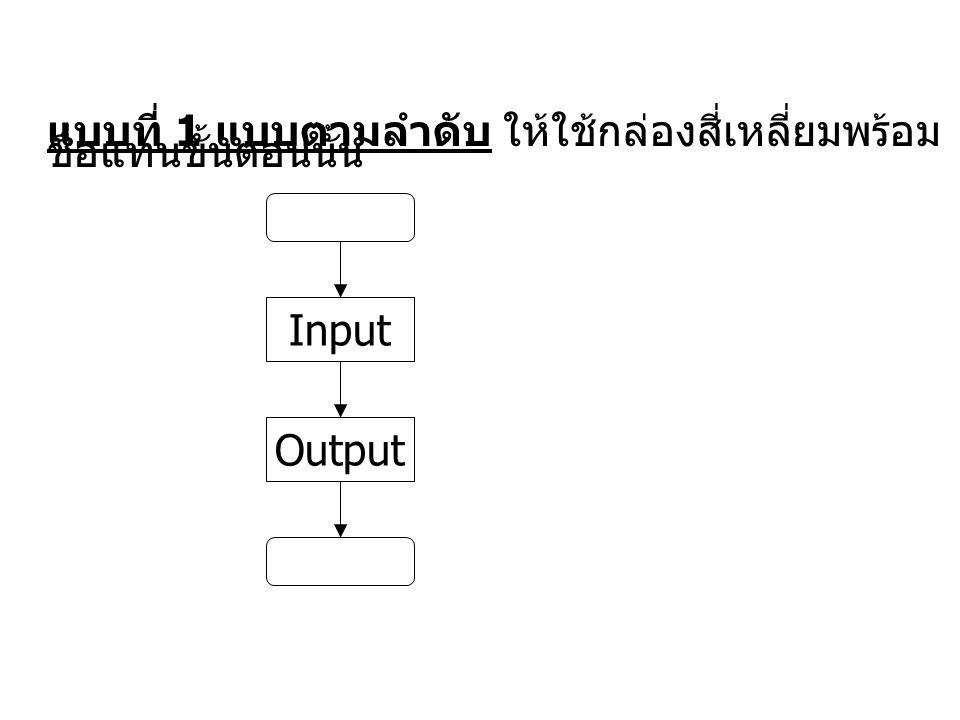แบบที่ 1 แบบตามลำดับ ให้ใช้กล่องสี่เหลี่ยมพร้อมชื่อแทนขั้นตอนนั้น