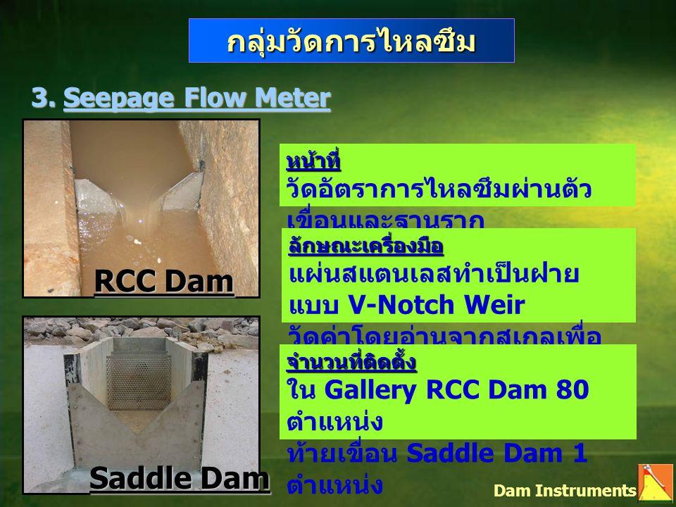 กลุ่มวัดการไหลซึม RCC Dam Saddle Dam 3. Seepage Flow Meter