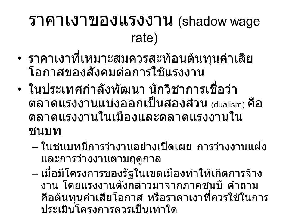 ราคาเงาของแรงงาน (shadow wage rate)