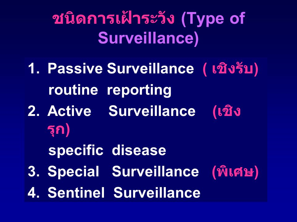 ชนิดการเฝ้าระวัง (Type of Surveillance)