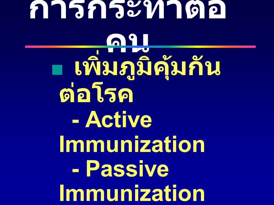 การกระทำต่อคน เพิ่มภูมิคุ้มกันต่อโรค - Active Immunization - Passive Immunization. ปรับเปลี่ยนพฤติกรรม.