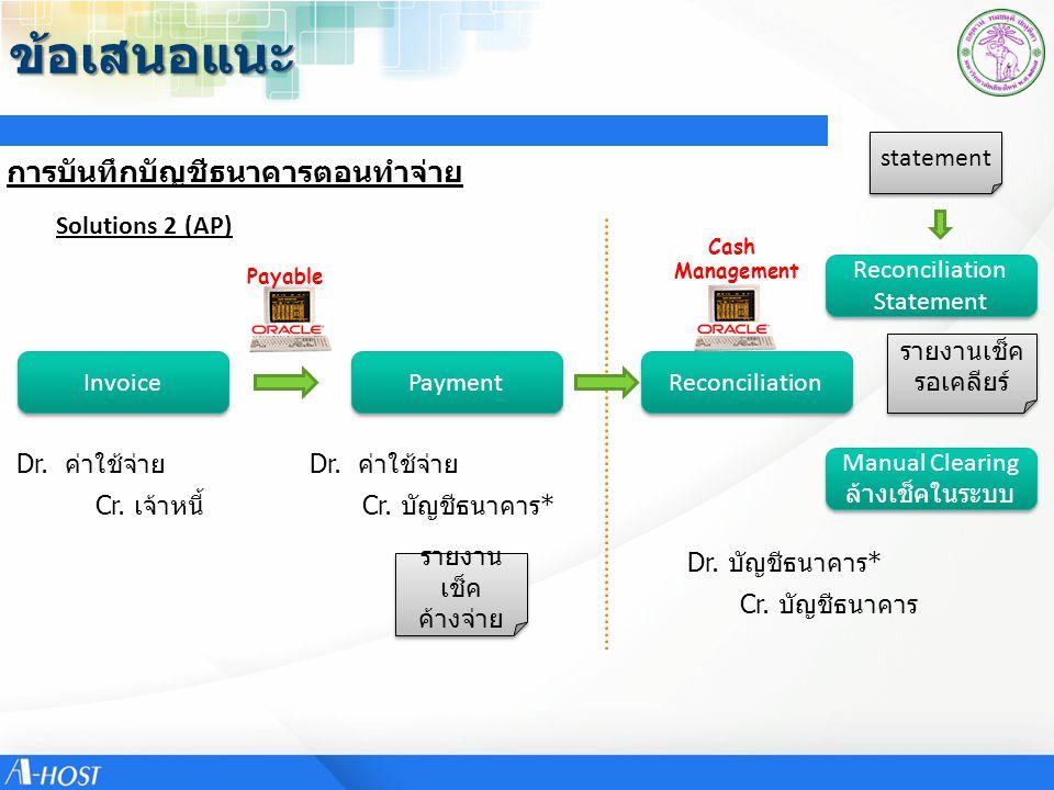 ข้อเสนอแนะ การบันทึกบัญชีธนาคารตอนทำจ่าย statement Solutions 2 (AP)