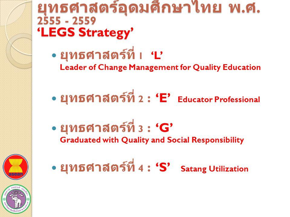 ยุทธศาสตร์อุดมศึกษาไทย พ.ศ. 2555 - 2559 'LEGS Strategy'