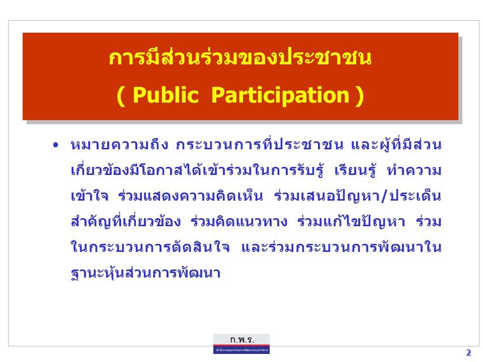 การมีส่วนร่วมของประชาชน ( Public Participation )
