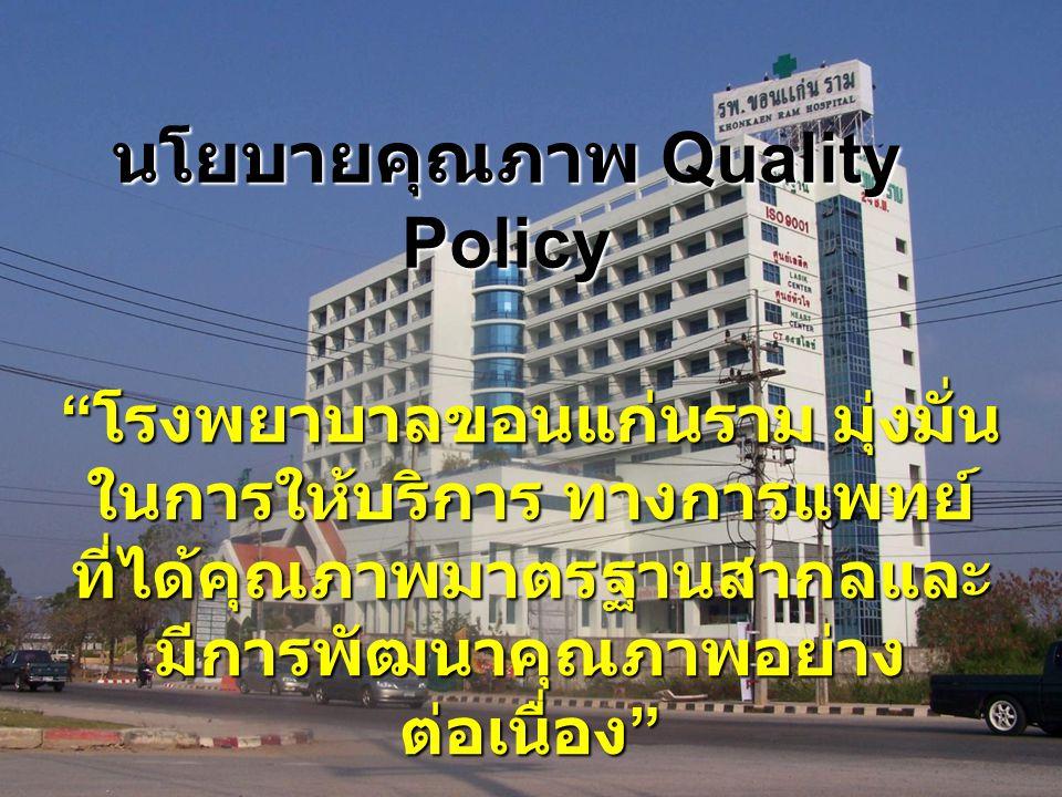 นโยบายคุณภาพ Quality Policy
