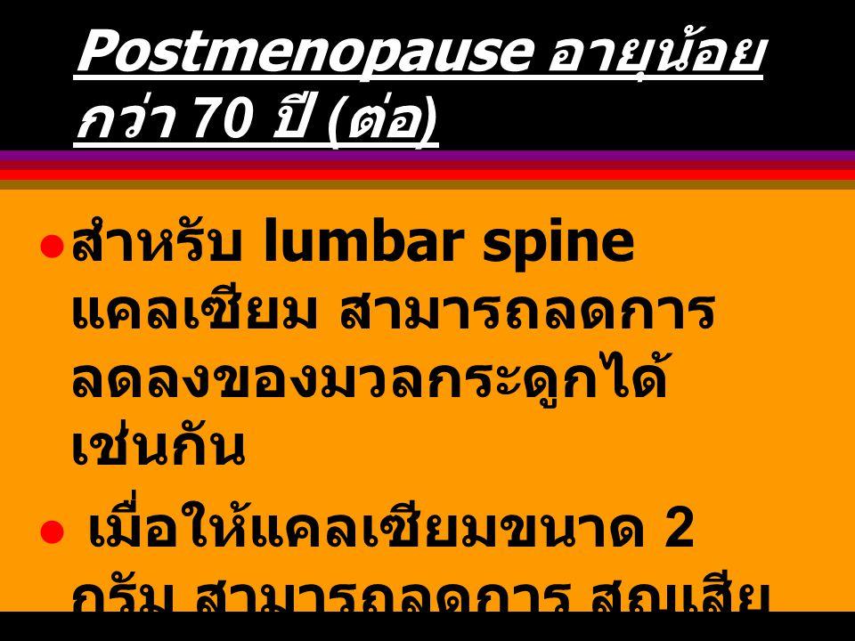 Postmenopause อายุน้อยกว่า 70 ปี (ต่อ)