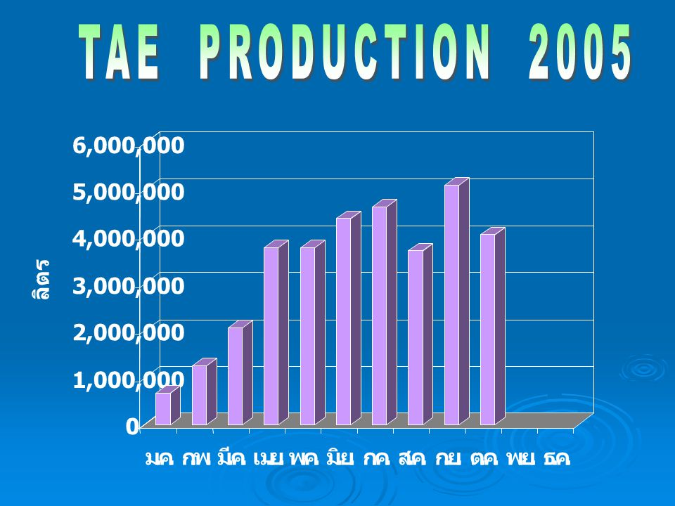 TAE PRODUCTION 2005 1,000,000. 2,000,000. 3,000,000. 4,000,000. 5,000,000. 6,000,000. ลิตร.