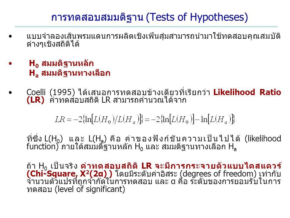 การทดสอบสมมติฐาน (Tests of Hypotheses)