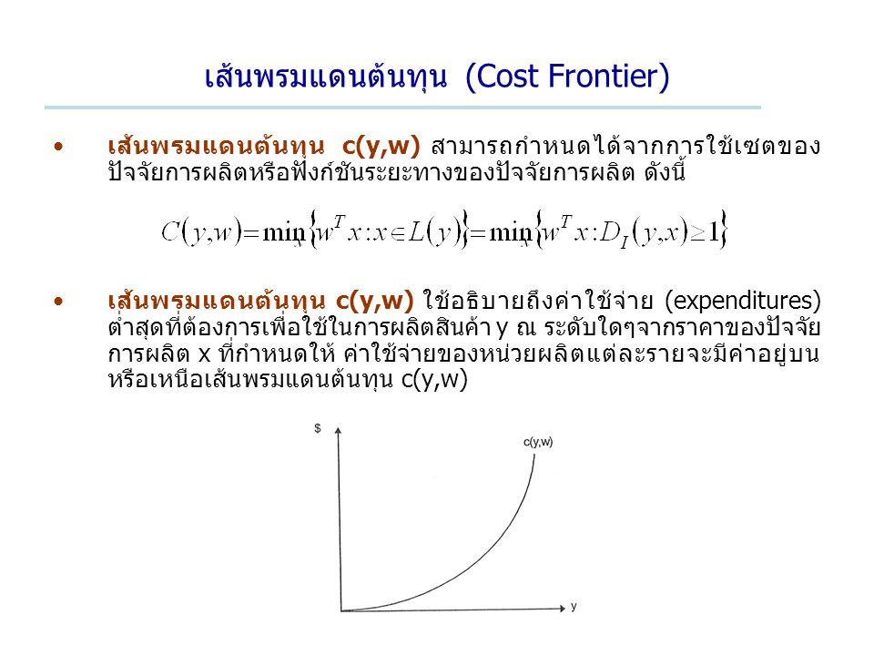 เส้นพรมแดนต้นทุน (Cost Frontier)