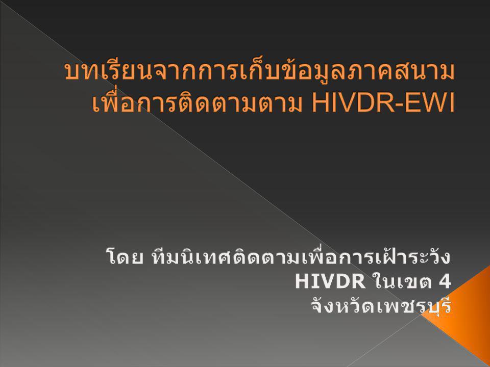บทเรียนจากการเก็บข้อมูลภาคสนามเพื่อการติดตามตาม HIVDR-EWI