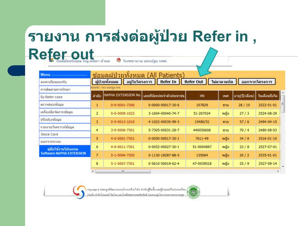 รายงาน การส่งต่อผู้ป่วย Refer in , Refer out