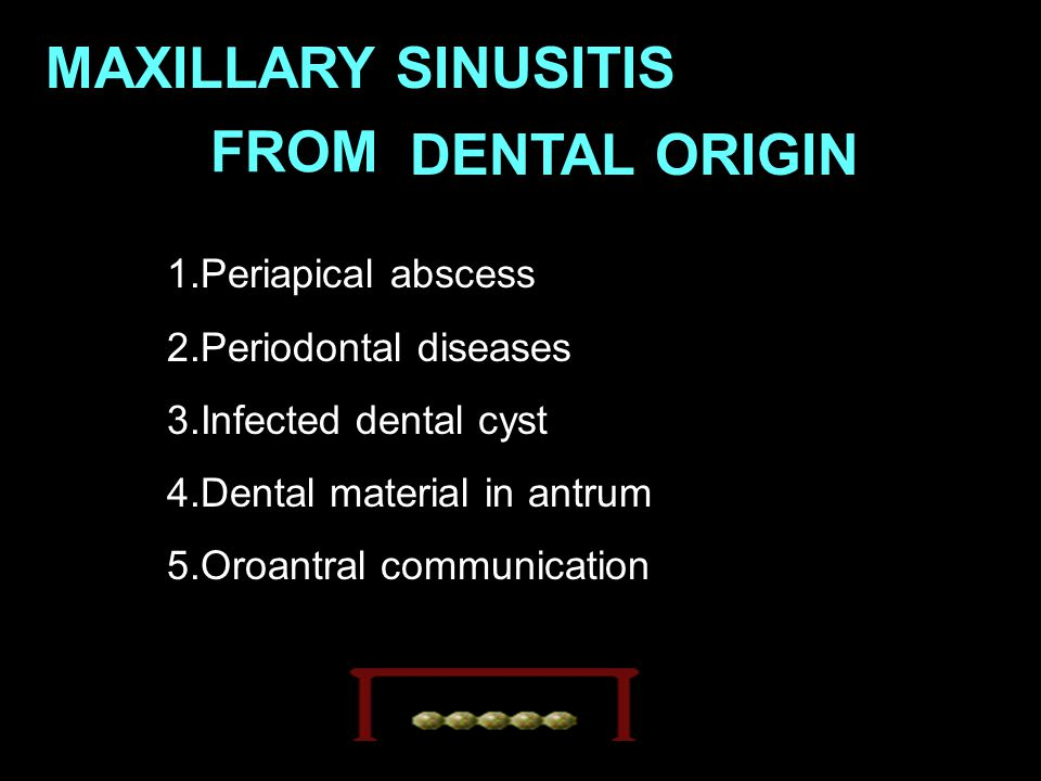 MAXILLARY SINUSITIS FROM DENTAL ORIGIN 1.Periapical abscess