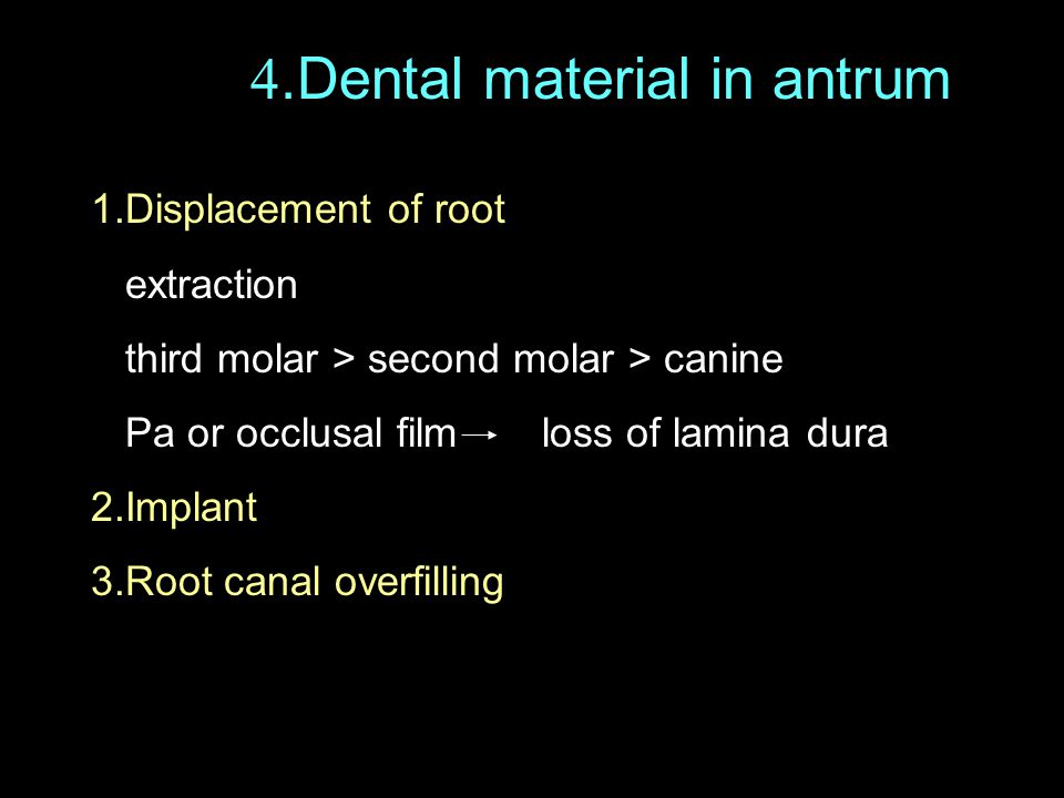 4.Dental material in antrum
