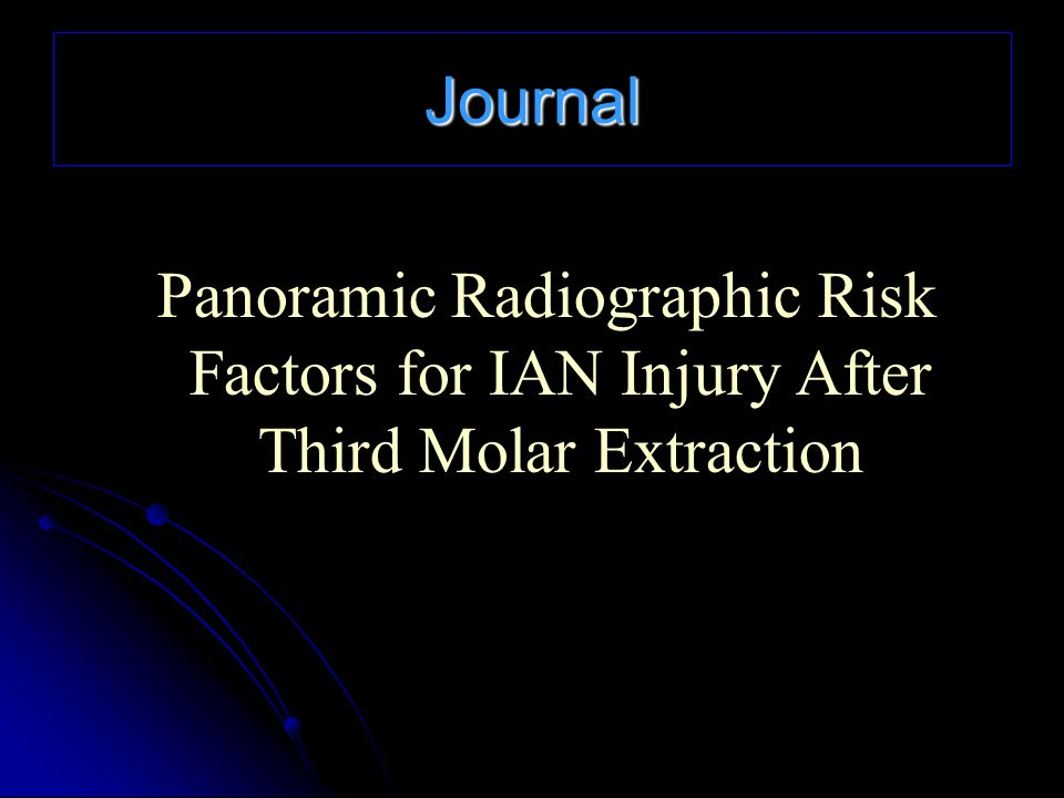 Journal Panoramic Radiographic Risk Factors for IAN Injury After Third Molar Extraction