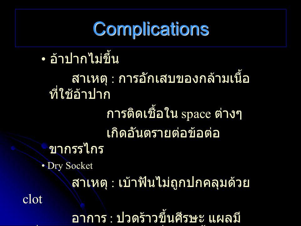 Complications • อ้าปากไม่ขึ้น