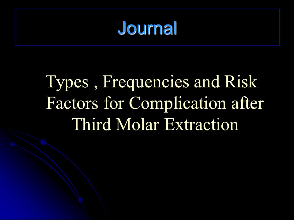Journal Types , Frequencies and Risk Factors for Complication after Third Molar Extraction