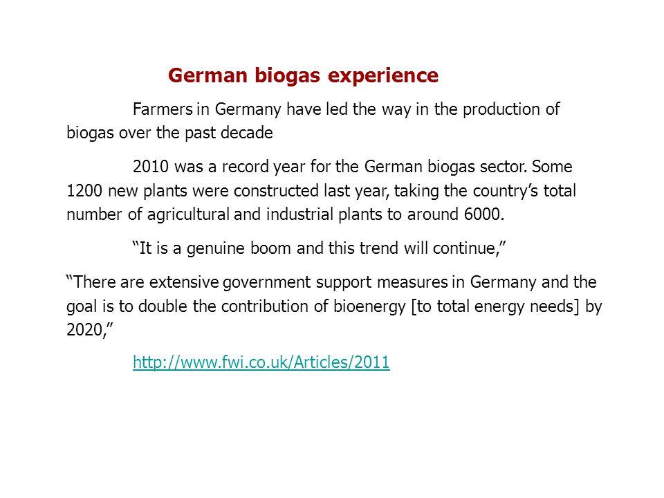 German biogas experience