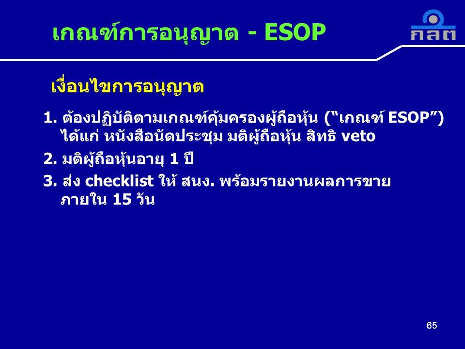 เกณฑ์การอนุญาต - ESOP เงื่อนไขการอนุญาต