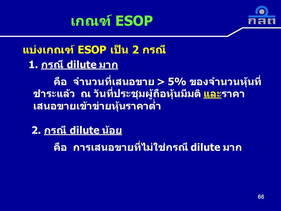 เกณฑ์ ESOP แบ่งเกณฑ์ ESOP เป็น 2 กรณี 1. กรณี dilute มาก