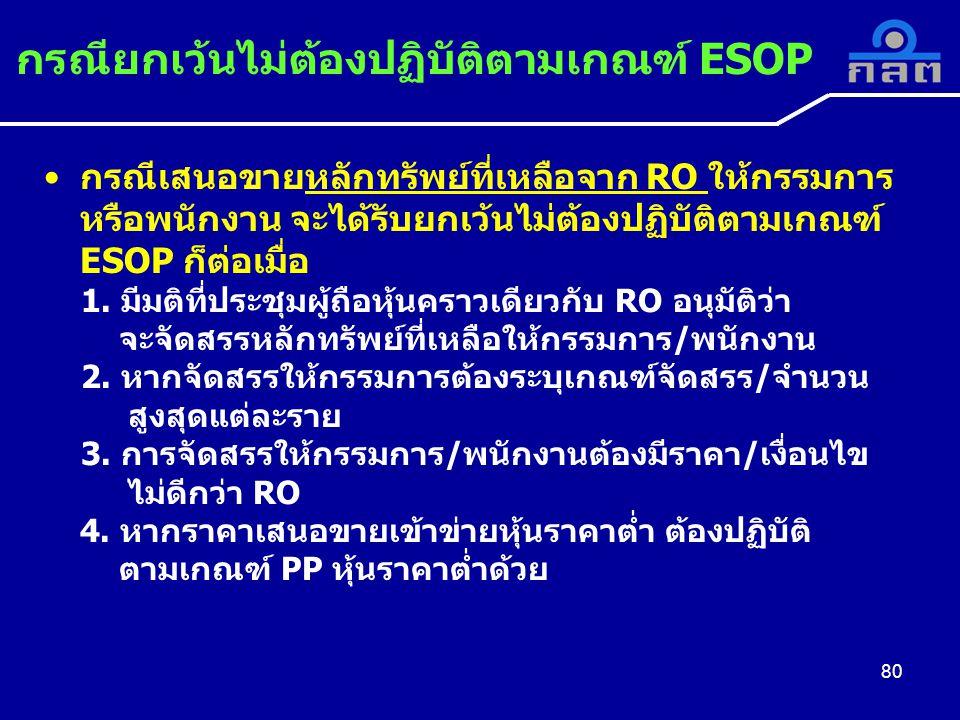 กรณียกเว้นไม่ต้องปฏิบัติตามเกณฑ์ ESOP