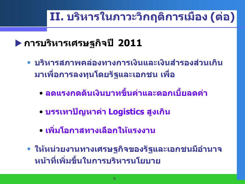II. บริหารในภาวะวิกฤติการเมือง (ต่อ)
