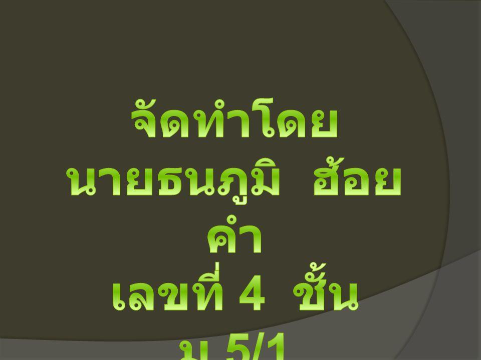 จัดทำโดย นายธนภูมิ ฮ้อยคำ เลขที่ 4 ชั้น ม.5/1